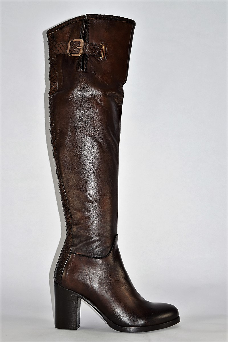 THE KNEE LEATHER ITALIAN BOOTS