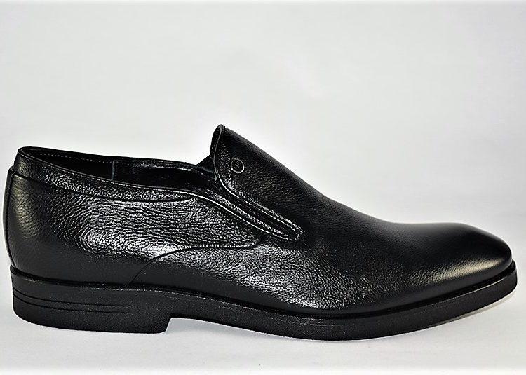 60161 Mario Bruni Black Leather Italian Dress Shoe Slip On
